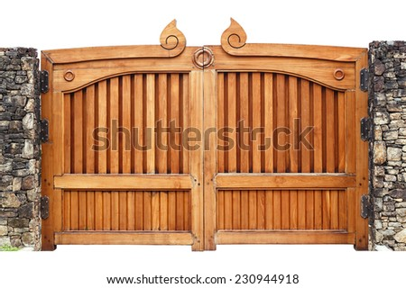 Wooden gate isolated on white background - stock photo