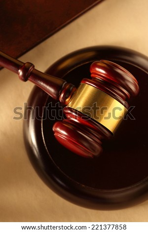 Wooden gavel and block closeup