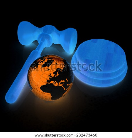 Wooden gavel and earth isolated on black background. Global auction concept - stock photo