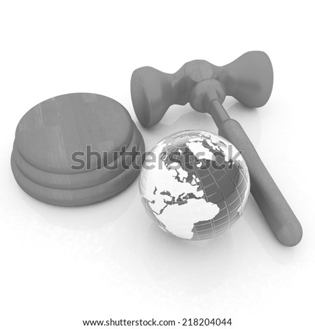 Wooden gavel and earth isolated on white background. Global auction concept - stock photo
