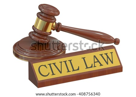 Wooden gavel and handcuffs, civil law concept. 3D rendering - stock photo