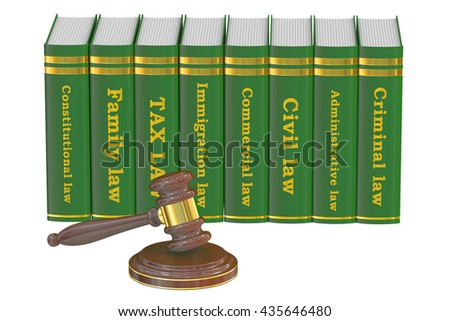 Wooden Gavel and Law Books, 3D rendering isolated on white background - stock photo