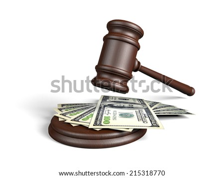 Wooden gavel and money - stock photo