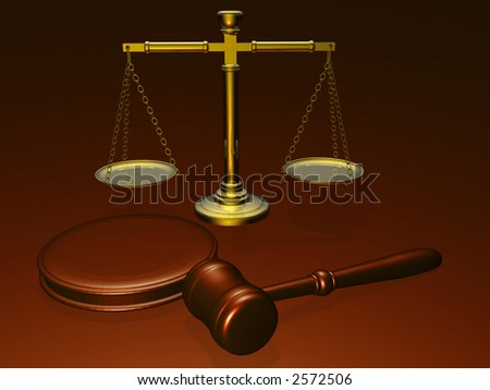 Wooden gavel and scales from the court (see more in my portfolio) - stock photo
