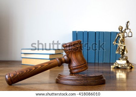 Wooden gavel barrister, justice concept , law   - stock photo