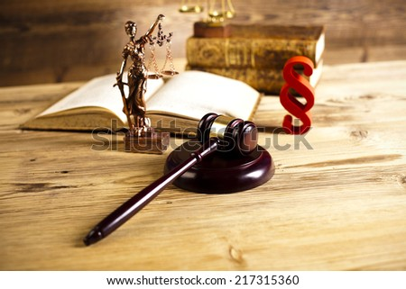 Wooden gavel barrister, justice concept, paragraph - stock photo