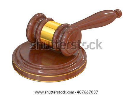 Wooden Gavel, 3D rendering isolated on white background
