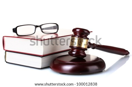 wooden gavel, glasses and books isolated on white - stock photo