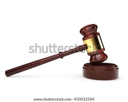 Wooden gavel isolated on a white background. 3D Illustration.
