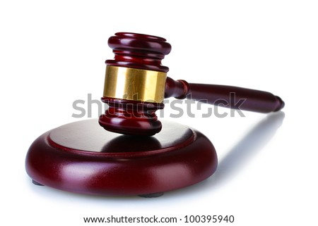 wooden gavel isolated on white - stock photo