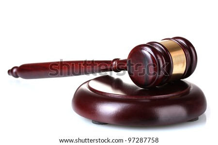 wooden gavel isolated on white - stock photo