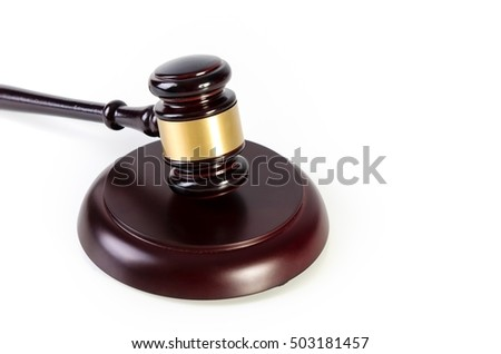 Wooden gavel isolated on white background. Copy space concept.