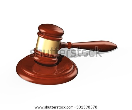 wooden gavel isolated over white background