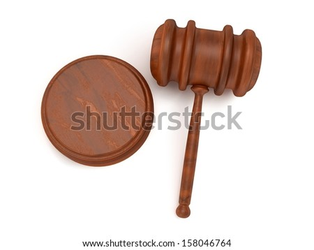Wooden gavel. Judge, Law, Auction concept. 3d Render. Isolated white background.