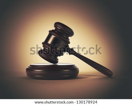 Wooden gavel. LAW concept. 3D illustration - stock photo