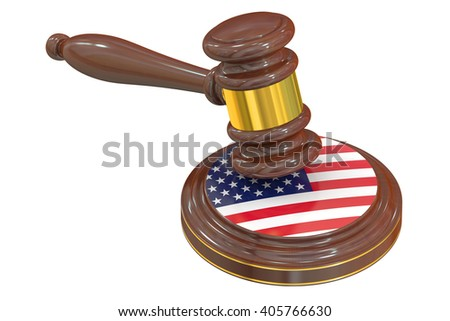 Wooden Gavel with American Flag, 3D rendering - stock photo