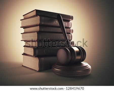 Wooden gavel with book. LAW concept. 3D illustration - stock photo