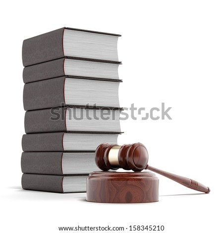 wooden gavel with books - stock photo