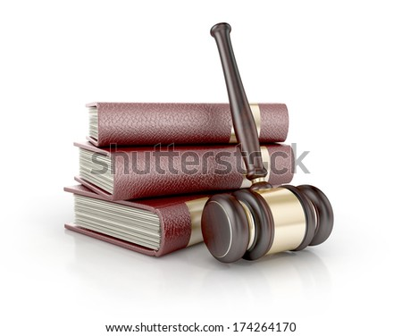 Wooden gavel with books. LAW  3d concept - stock photo
