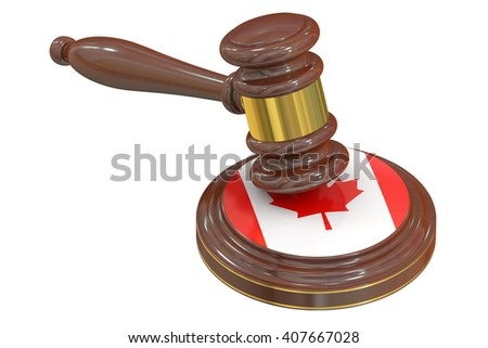 Wooden Gavel with Flag of Canada, 3D rendering - stock photo