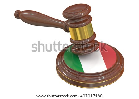 Wooden Gavel with Flag of Italy, 3D rendering - stock photo