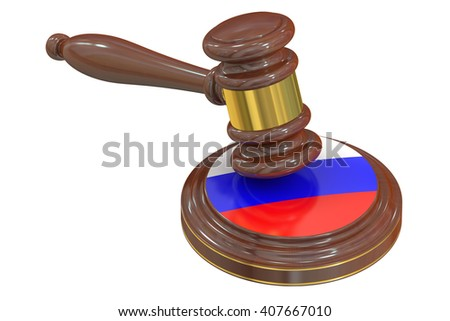 Wooden Gavel with Flag of Russia, 3D rendering - stock photo