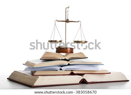 Wooden gavel with justice scales and open books on white background