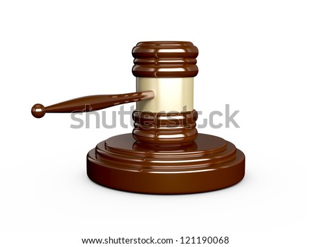 Wooden gavel with reflection, isolated on white background.