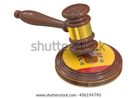 Wooden Gavel with Spanish Flag, 3D rendering - stock photo