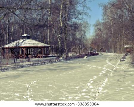 Wooden gazebo - Winter, snowy day in the botanical garden in Lodz - stock photo