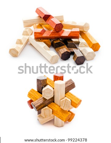 Wooden geometric puzzle made from many pieces with six grains - stock photo