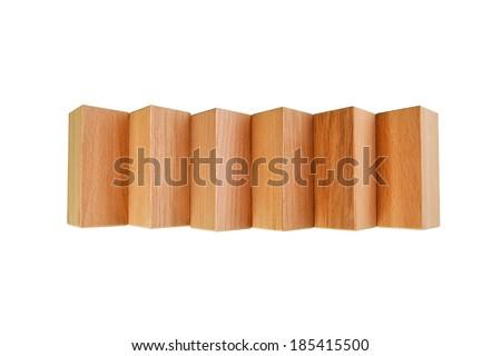 wooden geometric shapes Isolated on white background - stock photo