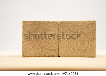Wooden geometrical pieces - details and texture  - stock photo