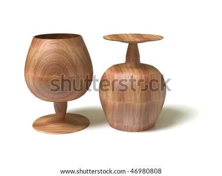 Wooden goblets. 3D model. - stock photo
