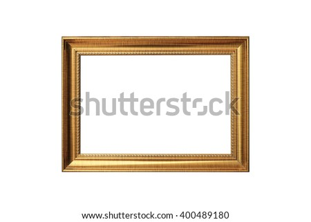Wooden gold frame vintage isolated background. use clipping path - stock photo