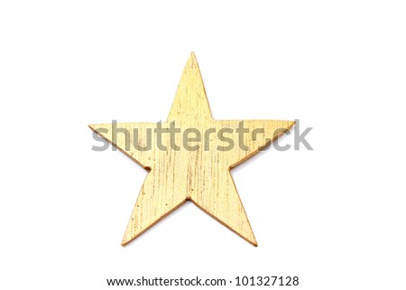 wooden gold star isolated on white