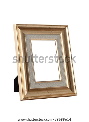 wooden golden photo frame - stock photo