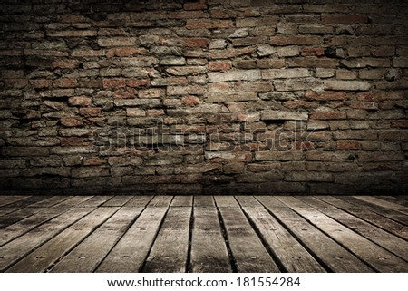 Wooden ground with grunge wall background. - stock photo