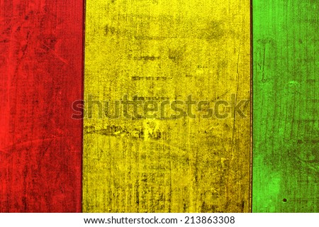 Wooden grunge Rasta colors.  - stock photo