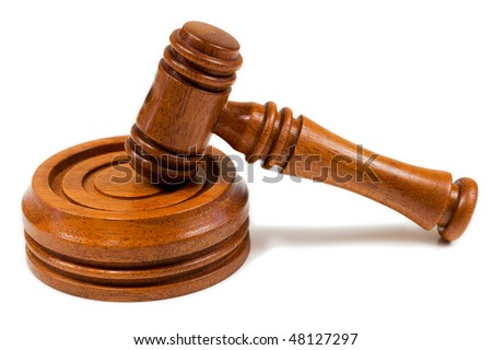 Wooden Hammer and Gavel on an Isolated White Background - stock photo
