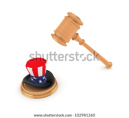 Wooden hammer and Un?le Sam's hat.Isolated on white background.3d rendered. - stock photo