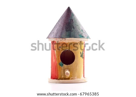 Wooden Hand Painted Kids Project Bird House - stock photo