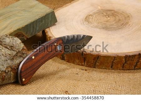 Wooden Handled Pocketknife - stock photo