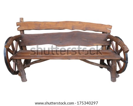 Wooden handmade garden bench with cart wheel decoration isolated over white background