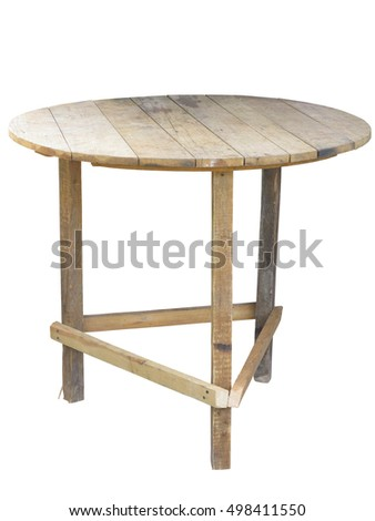 Wooden handmade outdoor table isolated over white background