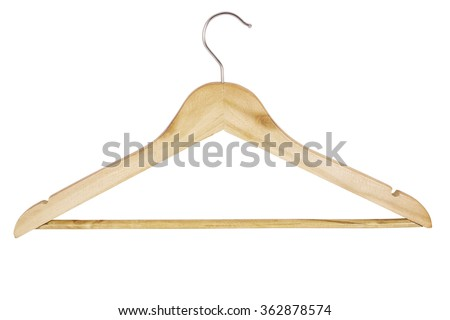 wooden hanger for clothes isolated on white background - stock photo