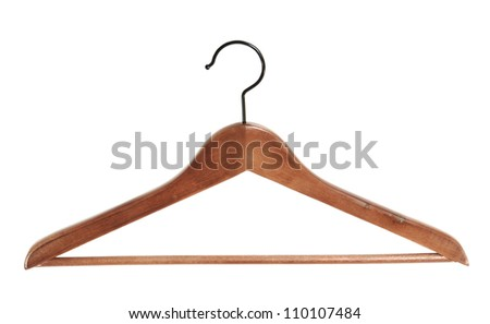 Wooden hanger isolated on white