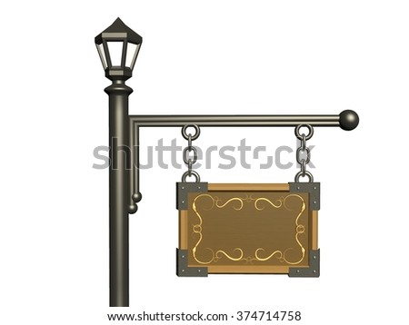 Wooden hanging signboard and street light on a white background. - stock photo