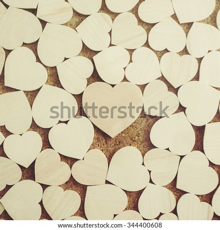 Wooden hearts - stock photo