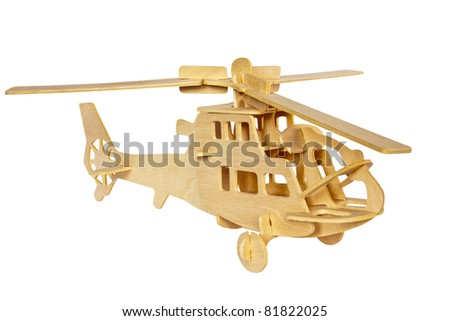Wooden helicopter. Handmade - stock photo